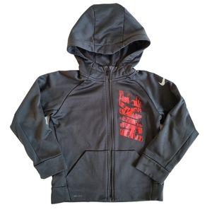 Nike Dri-fit Boys Grey Red Full Zip Sweatshirt